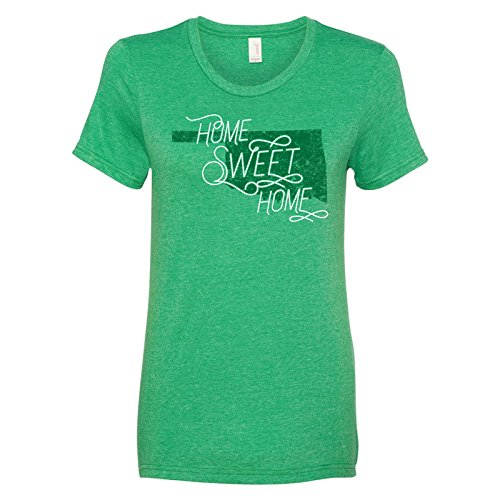 Oklahoma Home Sweet Home   State Pride Womens Ringspun T Shirt   Medium   Heather Green