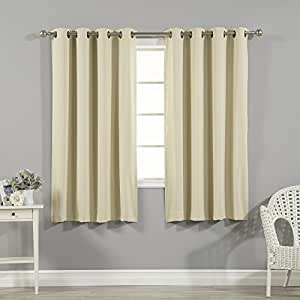 """Best Home Fashion Thermal Insulated Blackout Curtains - Antique Bronze Grommet Top - Beige - 52"""" W x 63"""" L - (Set of 2 Panels)"""