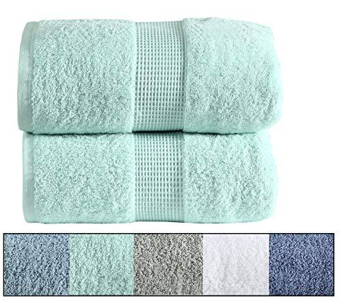 Royal Ascot 100% Combed Australian Cotton Towel Set, 2 Large Bath Towels, Bath Sheet Set, 550 GSM, Softer Than a Cloud, Absorbent, Machine Washable (Blue, 2 pc Set- Bath)