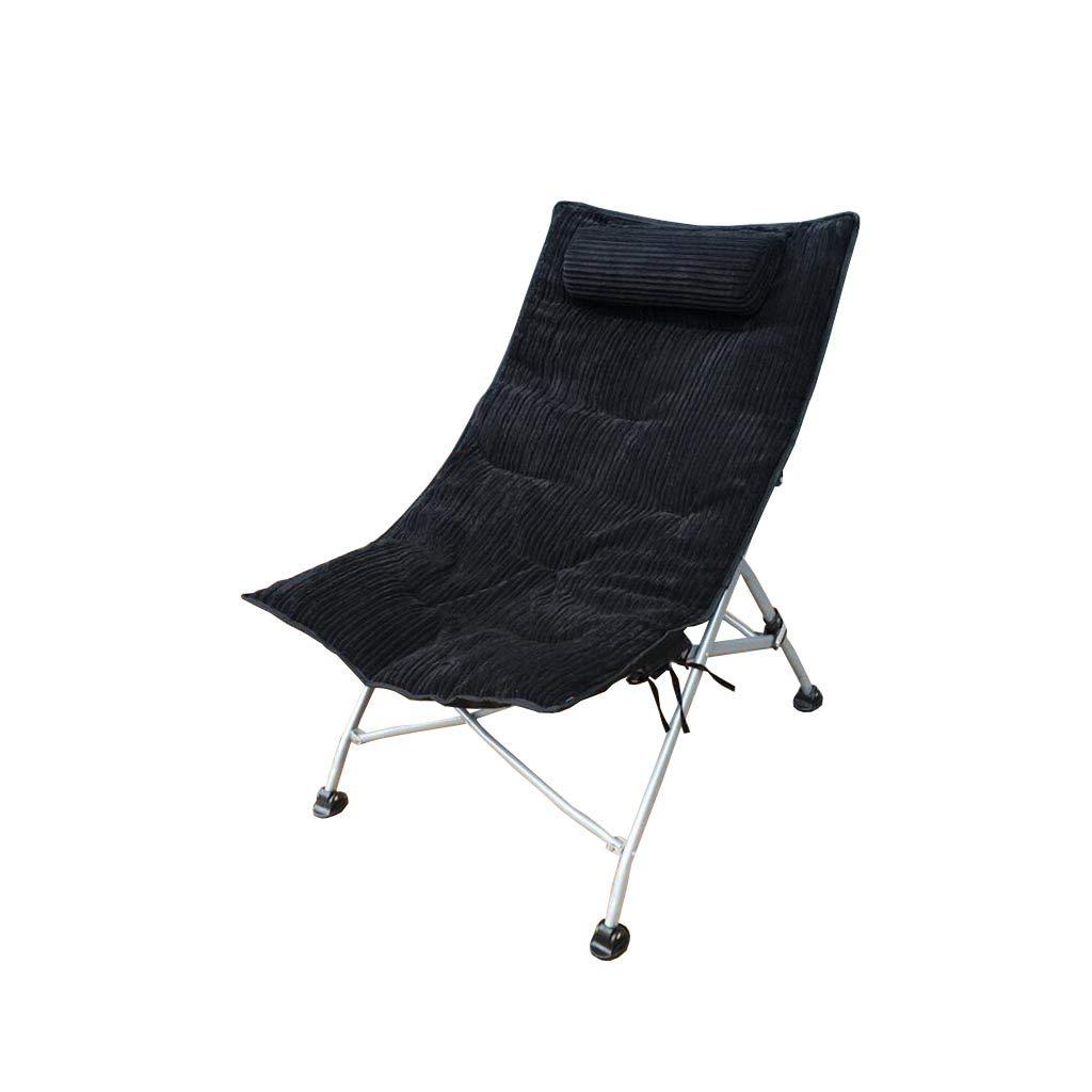 QZ HOME Stühle, Klappstuhl Sonnenliege Büro Mittagspause Stuhl Klappbare Sonnenliege 5 Farben (Farbe : Schwarz-1)