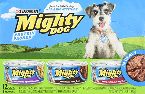 Mighty Dog Variety Pack. Hearty Pulled-Style Chicken Dinner, Porterhouse Steak Flavor, Hearty Pulled-Style Beef Dinner 12 - 5.5 oz casn (Pack of 2, 24 cans total)(Green Box) - Mighty Dog Beef