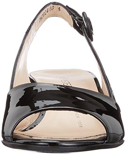para Negro Kaiser Peter Tacón Punta de 010 Lack Mujer con Abierta Zapatos Schwarz Caty 1FFn4