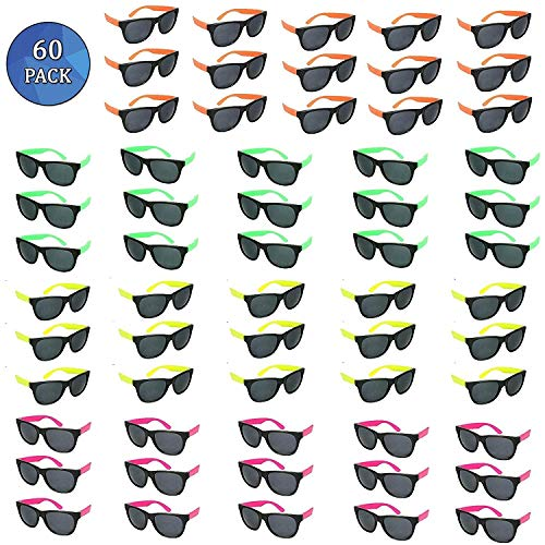 Totem World 60 Plastic Neon Party Sunglasses - Colorful 80s Shades with Hinges and Scratch-Free Lenses - Perfect as Party Favors or Retro Fashion Accessories - Variety of Colors -