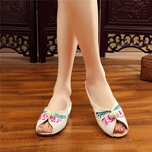 Zapatos Jane Shoes para Zapatos bordados mujeres pez Mary de boca con Beijing Beige Eagsouni Old rOIAr7x
