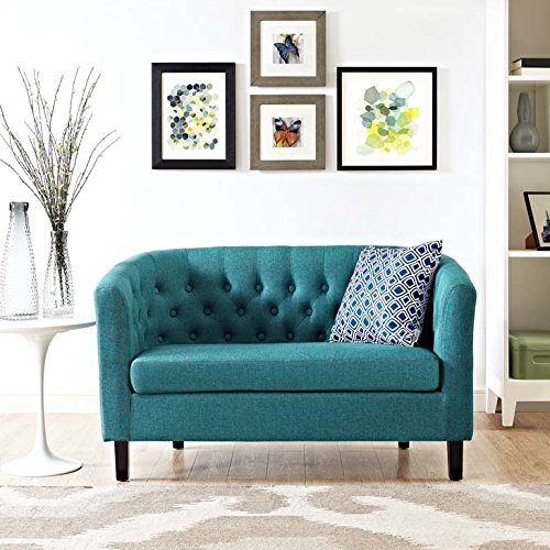 Modway Prospect Upholstered Contemporary Modern Loveseat In Teal (Screen Upholstered)