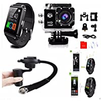 SNAPSITY SJ4000 Waterproof 1080P HD Action Camera with 4.0 Bluetooth Smart Watch and Handheld Stabilizer Gimbal Bundle Set