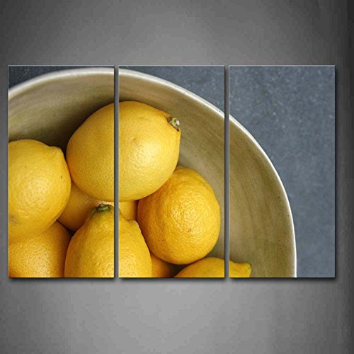 First Wall Art - Yellow Lemon In Bowl Wall Art Painting The Picture Print On Canvas Food Pictures For Home Decor Decoration Gift ()