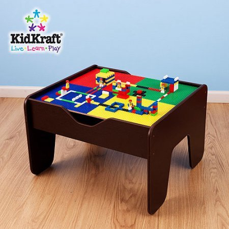 KidKraft Espresso 2-in-1 Activity and Train Table with Lego Board, 30-Piece Set by Generic (Image #1)