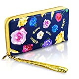 Cell Phone Case, Wallet, Pouch, Bag, Little Purse for Women with Unique Patent Beautiful Floral Design 204 Animated Lights Illuminate When Your Phone Rings Fits ALL Phones Wristlet Handbags