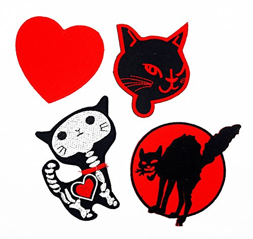 (PP Patch Set 4 Heart Red Hippie, Cat Halloween, X-ray Cat Halloween, Devil Cat Halloween Patch for Bags Jacket T-Shirt Embroidered Sign Badge Costume DIY Applique Iron on)