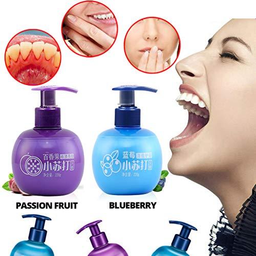Karymi Whitening Toothpaste, Hand Press Stain Removal Whitening Toothpaste Fight Bleeding Gums Deep Clean Toothpaste for Sensitive Teeth, 7.7 oz (Blueberry)