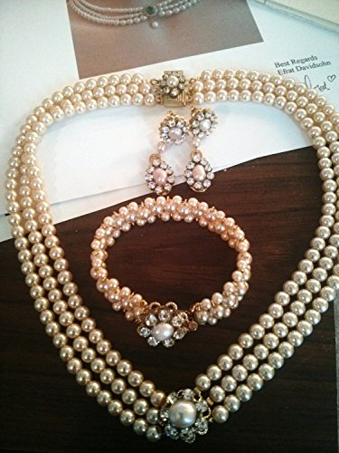 (Bridal Jewelry Set Bridal Pearl, Necklace choker Bracelet and Earrings,Blush Pink Pearl Crystal Vintage Rose Swarovski crystals Wedding Set)