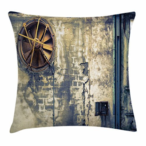 TINA-R Industrial Decor Throw Pillow Cushion Cover, Damaged Wrecked Wall Image Destruction Vandalism Broken Deserted Workplace, Decorative Square Pillow Case, 18 X 18 Inches, Multicolor
