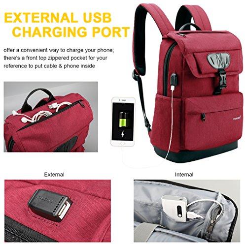 "School Laptop Backpack, Tigernu Water Resistant University Campus Bookbag with USB Charging Port for Boys/Girls, Anti-theft Business Travel Slim Light Daypacks for Laptops up to 15.6"",Men/Women,Black"
