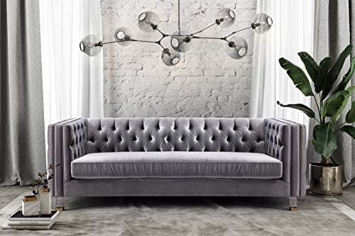 TOV Furniture The Rimini Collection Modern Velvet Upholstered Living Room Sofa - the best living room sofa for the money