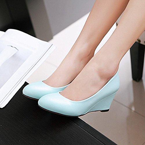 Mee Shoes Damen Keilabsatz runde einfach Pumps Blau