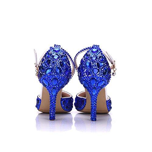 eur35uk3 Zapatos Eur Boda Vestir Tamaño Rhinestones Zapatillas Puntiagudo Sandalias 41 39 6 5 Blue Tobillo Alto 6 Nvxie Correa Cordón Azul Noche Nupcial Mujer Tacón Primavera 35 Corte uk Señoras BaOCzdUqw