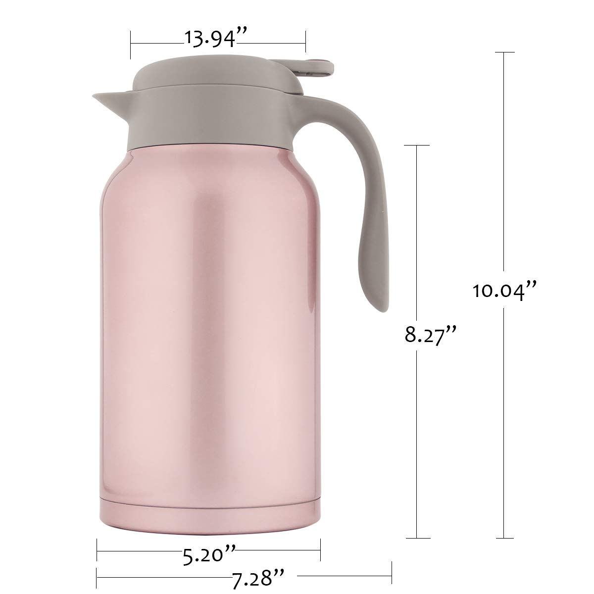 SDREAM 68 Oz Coffee Carafe Thermal Stainless Steel Double Walled Thermal Pots Hot Cold Beverage (Pink) by SDREAM (Image #5)