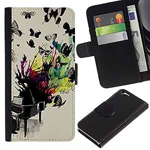 A-type (Butterflies Colorful Painting) Colorida Impresión Funda Cuero Monedero Caja Bolsa Cubierta Caja Piel Card Slots Para Apple (4.7 inches!!!) iPhone 6 / 6S