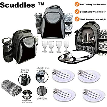 Scuddles Picnic Backpack Basket 4 Person Picnic Set Great Weddings Or Anniversary Model 1 Picnic Backpack