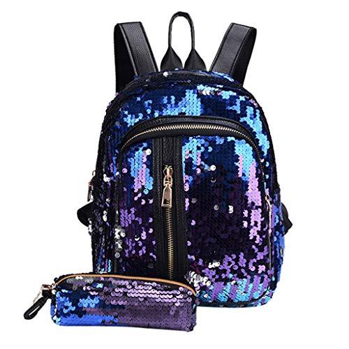 KFSO 2PCs Fashion Girl Discoloration Glitter Sequins School Bag Backpack Travel Shoulder Bag+Clutch Wallet (Blue)