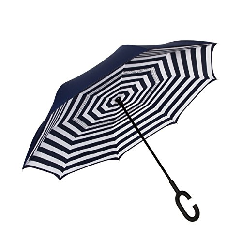 ShedRain UnbelievaBrella Fashion Print Reverse Umbrella: Bond Navy & White Stripes