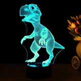 3D Night Lights for Children, Kids Night Lamp, Dinosaur Toys for Boys, 7 LED Colors Changing Lighting, Touch USB Charge Table Desk Bedroom Decoration, Cool Gift Ideas Birthday Xmas for Baby Friends