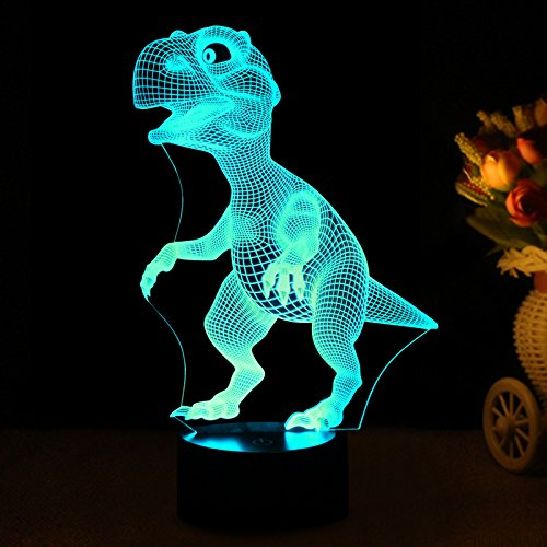 3D Night Lights for Children, Kids Night Lamp, Dinosaur Toys for Boys, 7 LED Colors Changing Lighting, Touch USB Charge Table Desk Bedroom Decoration, Cool Gifts Ideas Birthday Xmas for Baby Friends by Wiscky