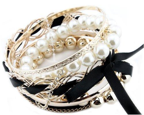 Bonamart Black Set Of Korean Romatic Design Multilayer Braided Bow Faux Pearl Bead Bracelet Bangle Fashion Jewelry