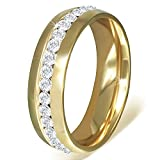 My Daily Styles Stainless Steel Yellow Gold-Tone White Clear CZ Anniversary Wedding Ring Band