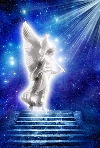 Yeele 6.5x10フィート 天使 写真 背景 天使の羽 聖なる天使の像 宇宙 星空の背景 祝福 祈り 写真スタジオ小道具 壁紙   B07GFFN7PQ