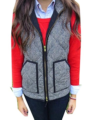 Coolred Women Pin Stripe Quilted Pocketed Winter Vest Jacket Outwear Coat Pattern1 S
