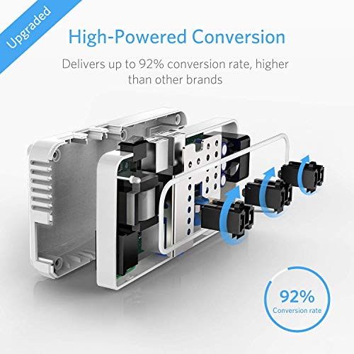 BESTEK Universal Travel Adapter 220V to 110V Voltage Converter with 6A 4-Port USB Charging and UK/AU/US/EU Worldwide Plug Adapter (White)