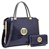 MKY Large Satchel 2 Pieces Handbag Designer Purse Multicolor w/ Wallet Shoulder Strap Navy Blue