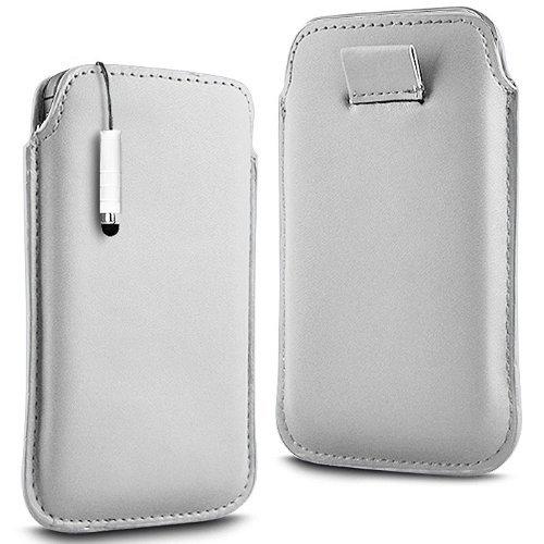 N4U Online - Apple Iphone 4S premium PU souple Pull en cuir flip Tab Housse Etui & Mini Stylet - Blanc