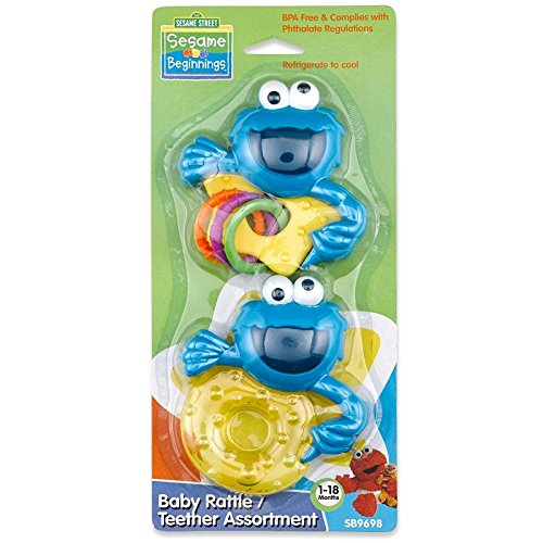 (Sesame Beginnings 2 Piece Teether and Rattle Set)