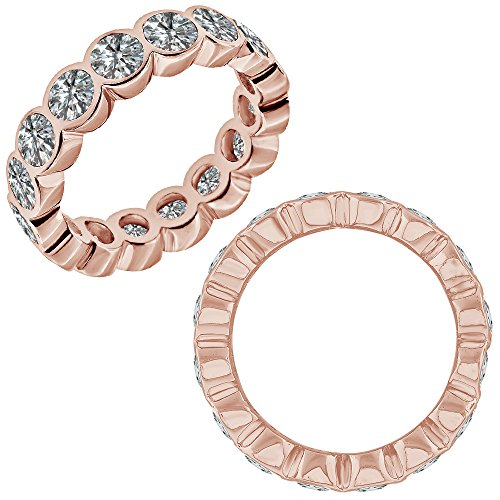 2.75 Carat G-H Diamond Bubbles Bezel Full Eternity Wedding Band Bridal Ring (2.75 Ct Heart Diamond)