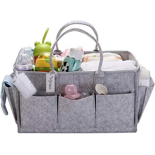 Hinwo Baby Filz Windel Caddy 3-Fach Säugling Kinderzimmer Einkaufstasche Tragbarer Auto Organizer Neugeborene Dusche Geschenkkorb mit abnehmbarem Teiler und 8 Seitentaschen für Windeln & Tücher, grau