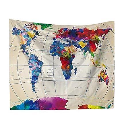 Buy Dwayne C Tapestry Watercolor World Map Wall Hanging Tapestry - Cloth world map wall hanging