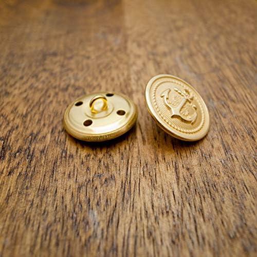 【丸型(マリンボタン/イカリボタン)】メタル(真鍮)ボタン#M503 1穴21mm C/#G消し(ゴールド消し) 2個セット