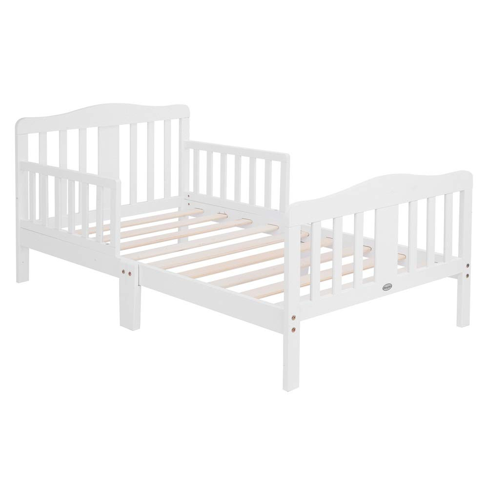 Bonnlo Contemporary Wooden Toddler Bed Sturdy Bedframe with Guard Rail Bedroom Furniture for Kids Children - White by Bonnlo