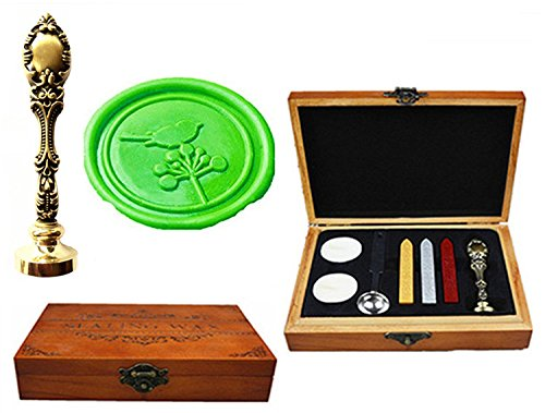 MNYR Deathly Hallows Luxury Wood Box Red Brass Metal Peacock Wedding Invitations Gift Cards Paper Stationary Envelope Seals Custom Logo Wax Seal Sealing Stamp Wax Stick Melting Spoon Wood Gift Box Kit