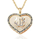 Glucky : Love Heart CZ Iced Out Muslim Allah Moon Pendant Flower Print Islam Quran Prayer Gold Necklaces