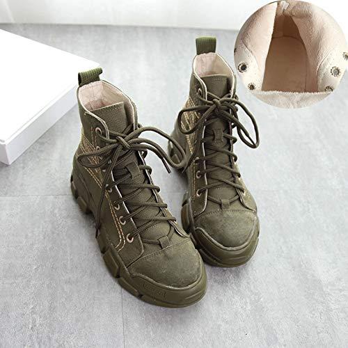 Shukun Shukun Shukun Stiefeletten Martin Stiefel Damenschuhe hoch um Desert Stiefel Herbst PU Denim Leinwand Student Plattform Stiefel zu helfen 7f89eb