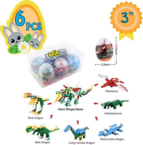Totem World 6 Filled Easter Egg Building Toys – Dinosaur Set – Age 6-12 Learning Educational Inside 3″ Large Plastic Egg – Great for Dino Easter Basket Stuffers – Combine to Build a Mech Winged Beast