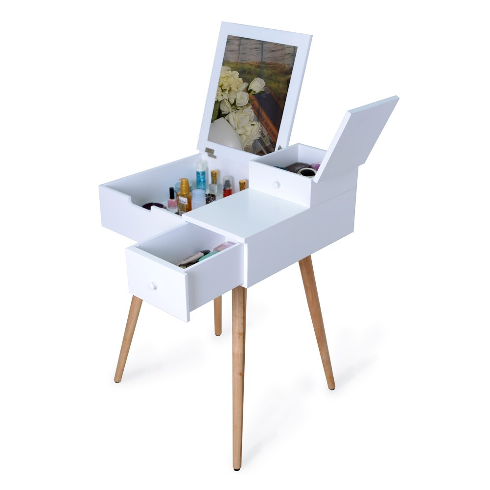 Facilehome Dressing Vanity Table Makeup Desk with Dressing Mirror and 2 Drawers,White