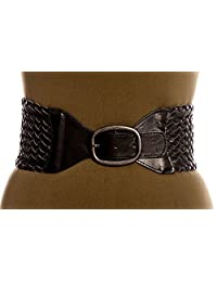 Landes Women's Stretch Faux Leather Woven Waist Belt Black Medium