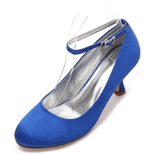 Trabajo Elegante Hebilla Las Satén Verano Corte yc Estrecha Punta De Zapatos Plana Blue E17061 Mujeres 12 La Redonda L Boda xqgawp1