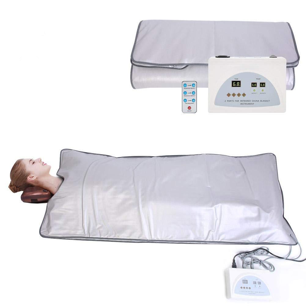 TOPINCN Portable Far Infrared Heat Sauna Blanket, Professional Sauna Heating Blanket Body Shape Slimming Fitness Detox Therapy Remote Control Machine for Home Salon Beauty 110V US Plug