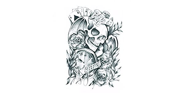 Amazon.com : Wonbeauty Halloween temporary tattoos for men and women terrible skull with roses and clock fake realistic tattoo stickers by Wonbeauty : ...